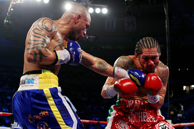 Miguel Cotto got his revenge over Antonio Margarito in Madison Square Garden forcing the bout to be stopped after the ninth round. Photo: Al Bello/Getty Images