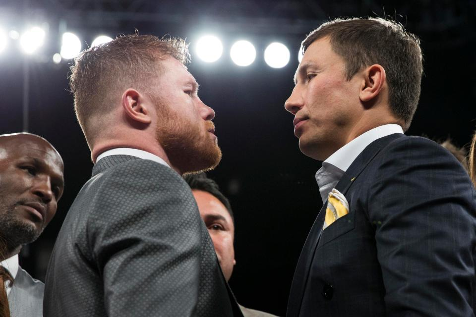 Canelo-GGG got face to face after announcing their bout will take place on Septemeber 16th. Photo: Associated Press