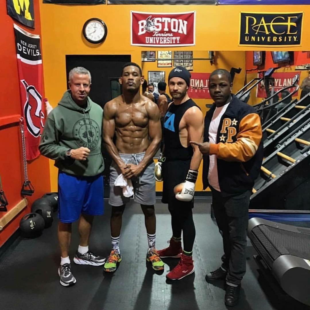 Daniel Jacobs with members of his team including Chris Algieri. Photo: Team Jacobs