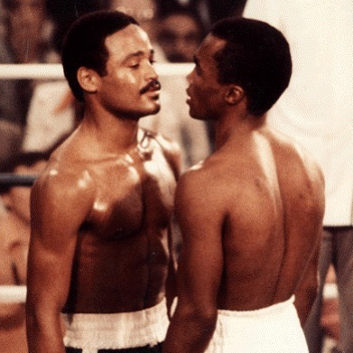 Wilfred Benitez and Ray Leonard have an intense face-off before their WBC welterweight champions bout in November 1979. Photo: Getty Images
