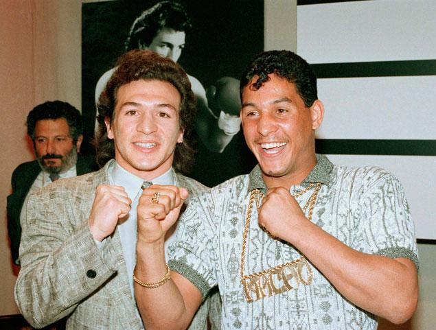 Hector Camacho with Ray Manicini in 1989. Photo: Reed Saxon/AP