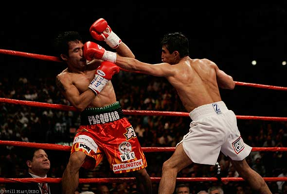 Erik Morales used his jab in defeating Manny Pacquiao in March 2005. Photo: Will Hart/HBO