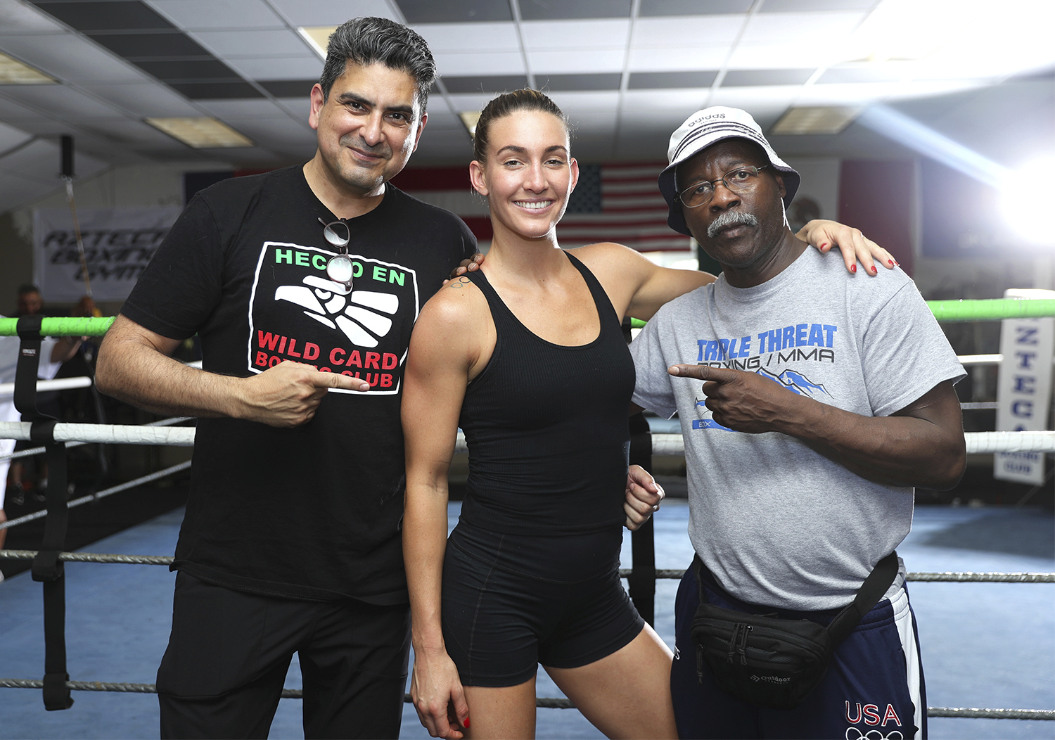 Mikaela Mayer and team. Photo: Mikey Williams/Top Rank