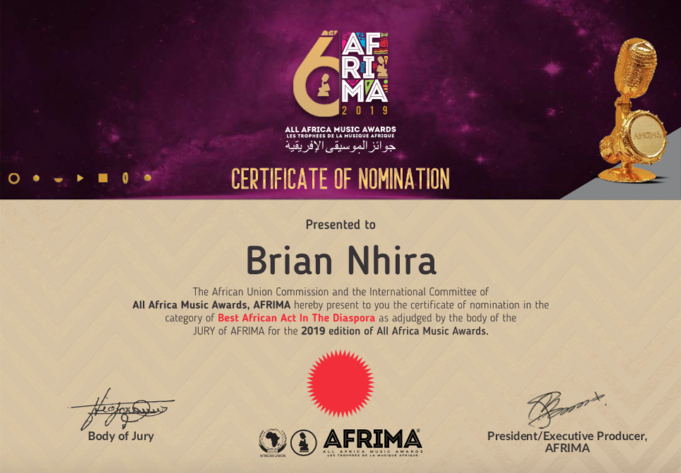 AFRIMA Awards-Official Nomination Certificate-Brian Nhira.png