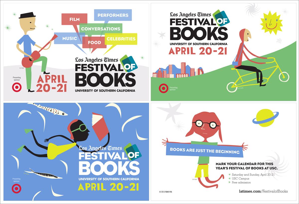 Promotional Postcards  LA Times Festival of Books (Artwork by Frank Viva) Adobe Illustrator