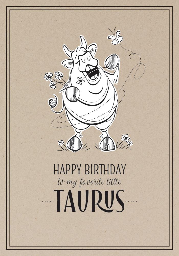 Hedonistic Taurus  Birthday Card Design Pen / Adobe Illustrator