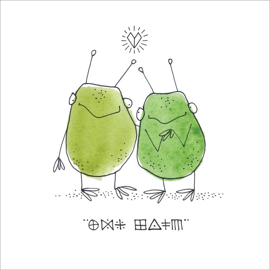 Aliens in Love  Mini Card Design Pen / Watercolor