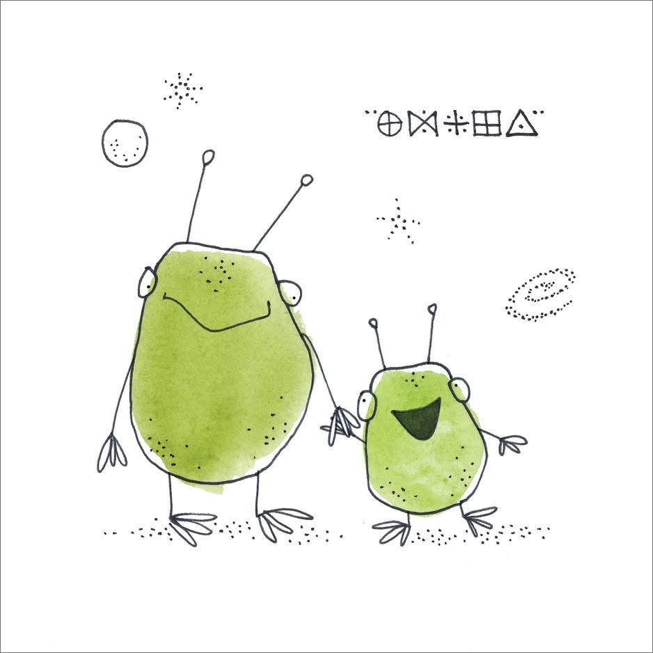 Alien Family  Mini Card Design Pen / Watercolor