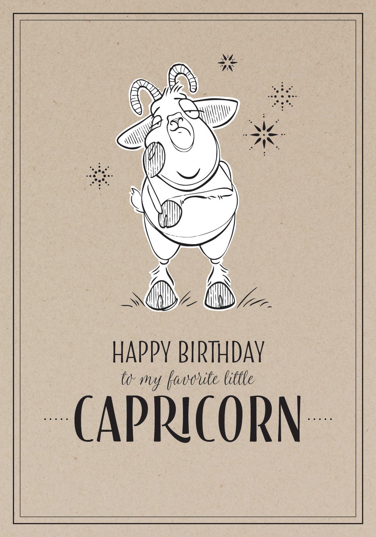 Unemotional Capricorn Birthday Card Design Pen / Adobe Illustrator