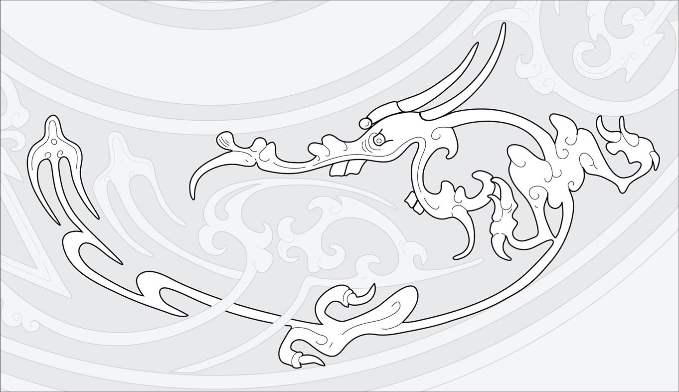 Chinese Bronze Mirror #3  (Detail) Adobe Illustrator