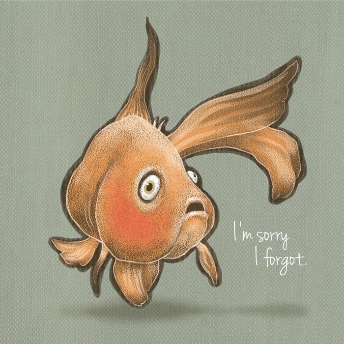 I'm Sorry I Forgot.  Mini Card Design Pencil / Corel Painter