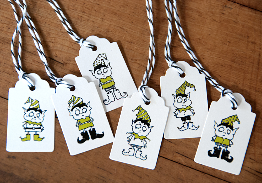 """Elf gift tags (1x1.5"""")"""