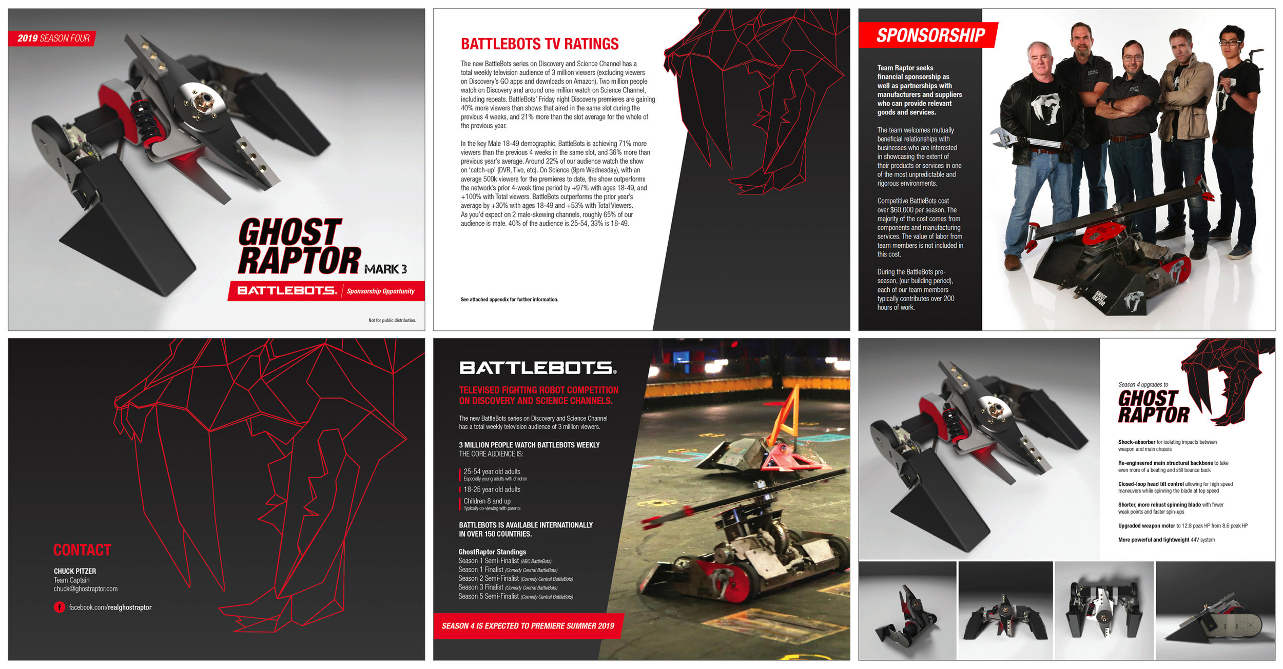 Sponsorship Package  Battlebots Team Ghost Raptor Adobe InDesign