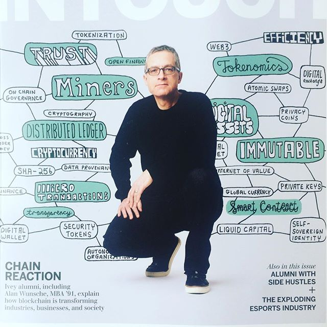 Cover illustration for @westernuniversity @iveybusiness intouch magazine 'Chain reaction: Ivey alumni Alan Wunsche, MBA '91 explains how blockchain is transforming industries, business, and society.' Art directed by @aegis_brand Photo by Nation Wong #bitcoin #cryptocurrency #blockchain #westernu