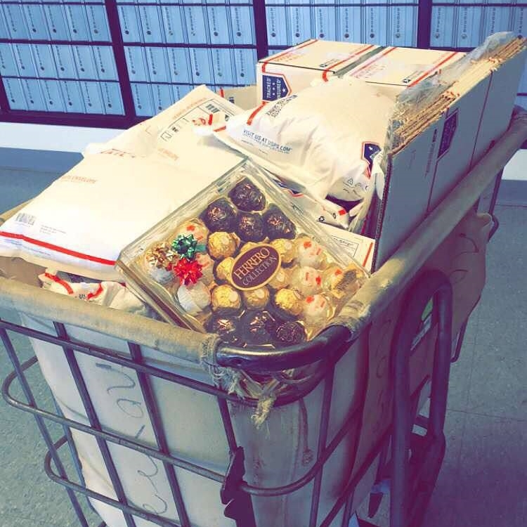 My last major drop off to my neighborhood post office. (Complete with a holiday treat for my favorite USPS ladies!)