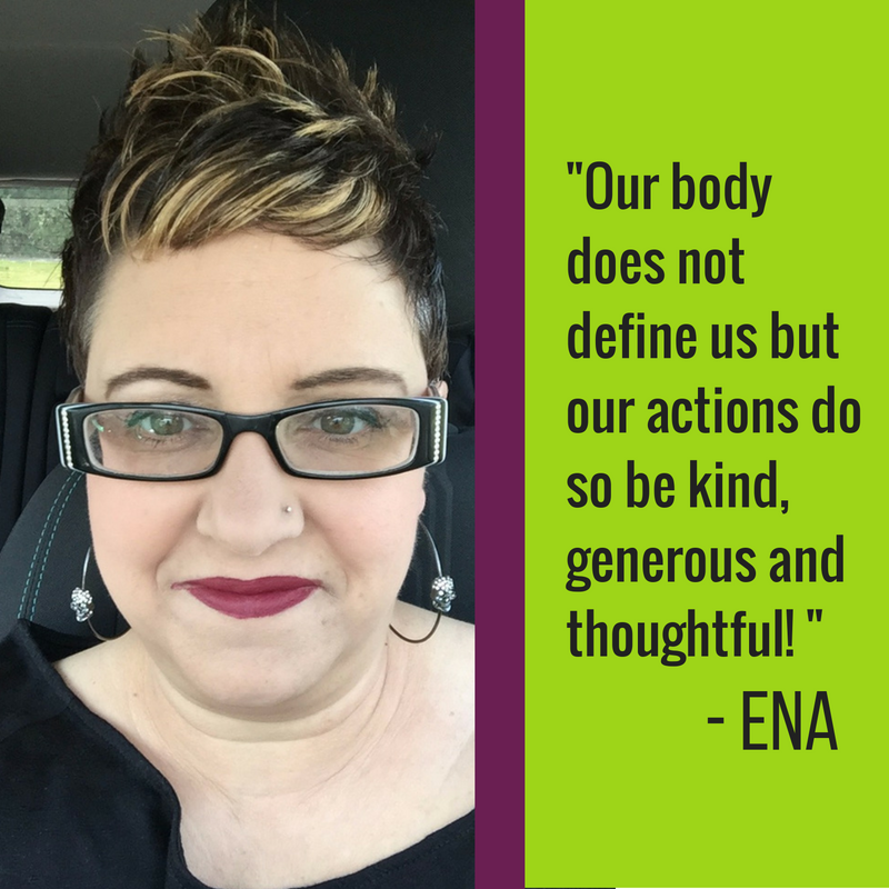 I am happy with the body I have! Diets only perpetuate feelings of failure and self-loathing! The only things I'm working on are sharing the selflove and body positive message! Our body does not define us but our actions do so be kind, generous and thoughtful!    Find more from Ena here:   https://prettyplusandproud.wordpress.com/
