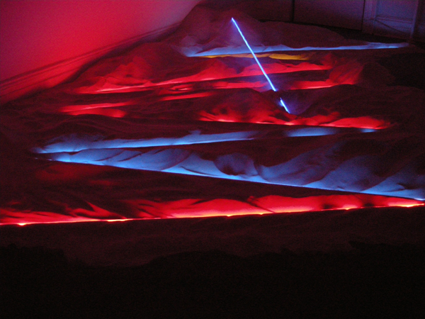 Architecturally specific installation at Nyehaus, NYC  2010  neon, argon and sand
