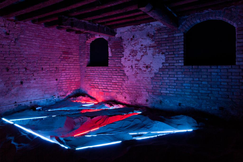 Installation at Venice Biennale  2011  Neon, argon, and sand