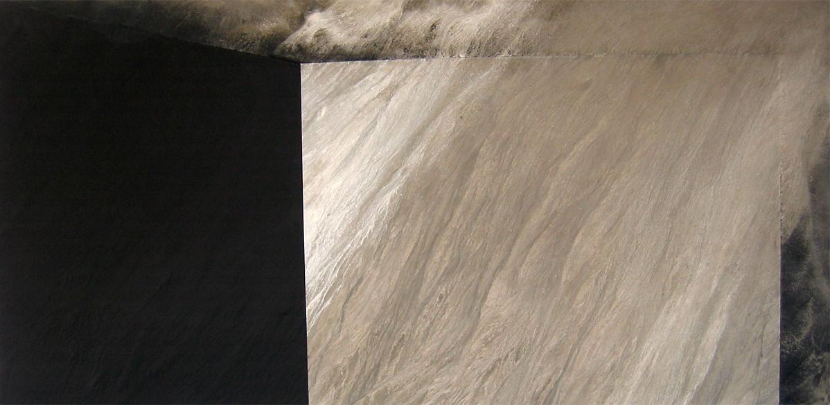 """Death in Venice   1985   84"""" x 144""""   Cement wash, Black iron oxide"""