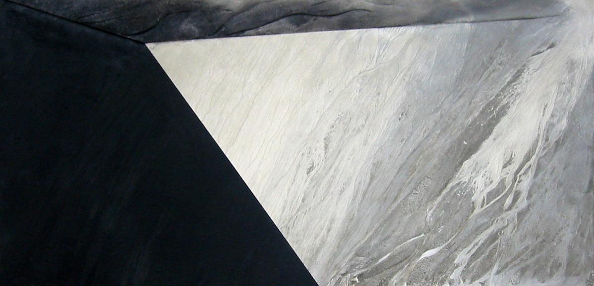"Death in Venice II   2005   48"" x 96""   Cement wash, Volcanic Ash"