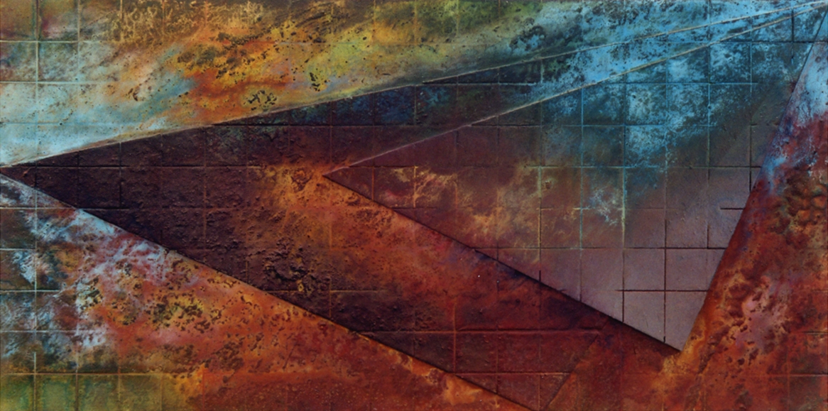 """Untitled   2000   36"""" x 72""""   Cement & Oxides on board"""