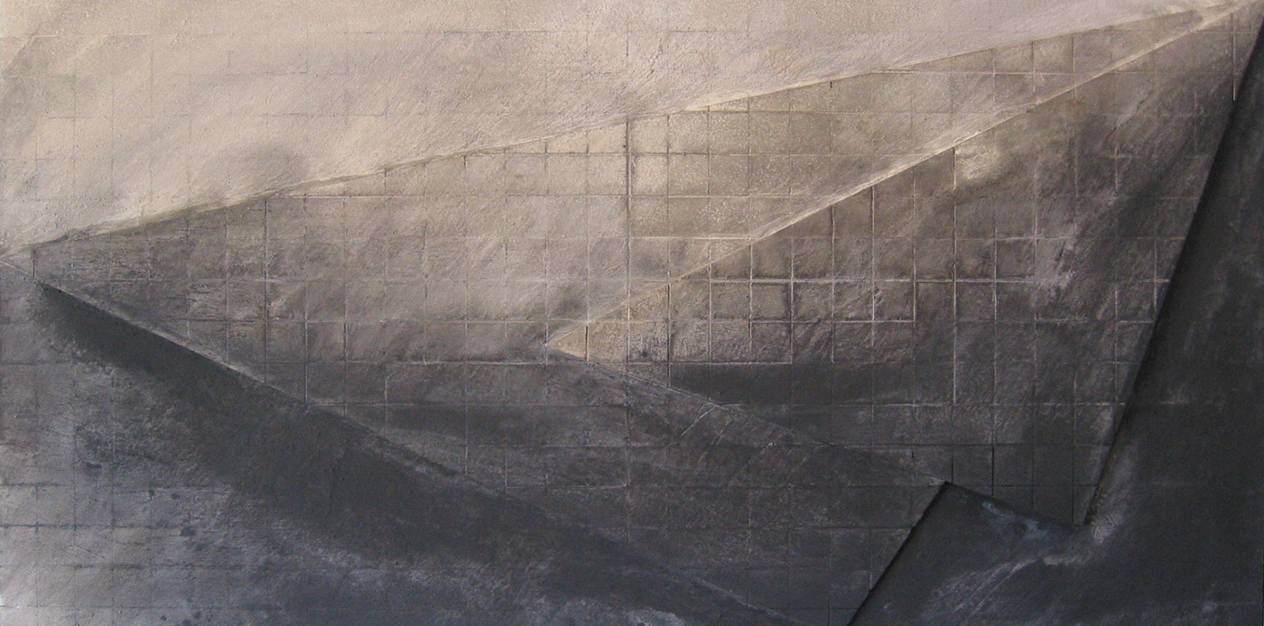 """Heavy Water    2008    48"""" x 96""""    Cement wash & Black Iron oxide"""
