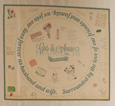 the wedding couple asked their friends and family to send them good wishes, then scanned them and printed them onto a piece of cloth, creating an heirloom chuppah.