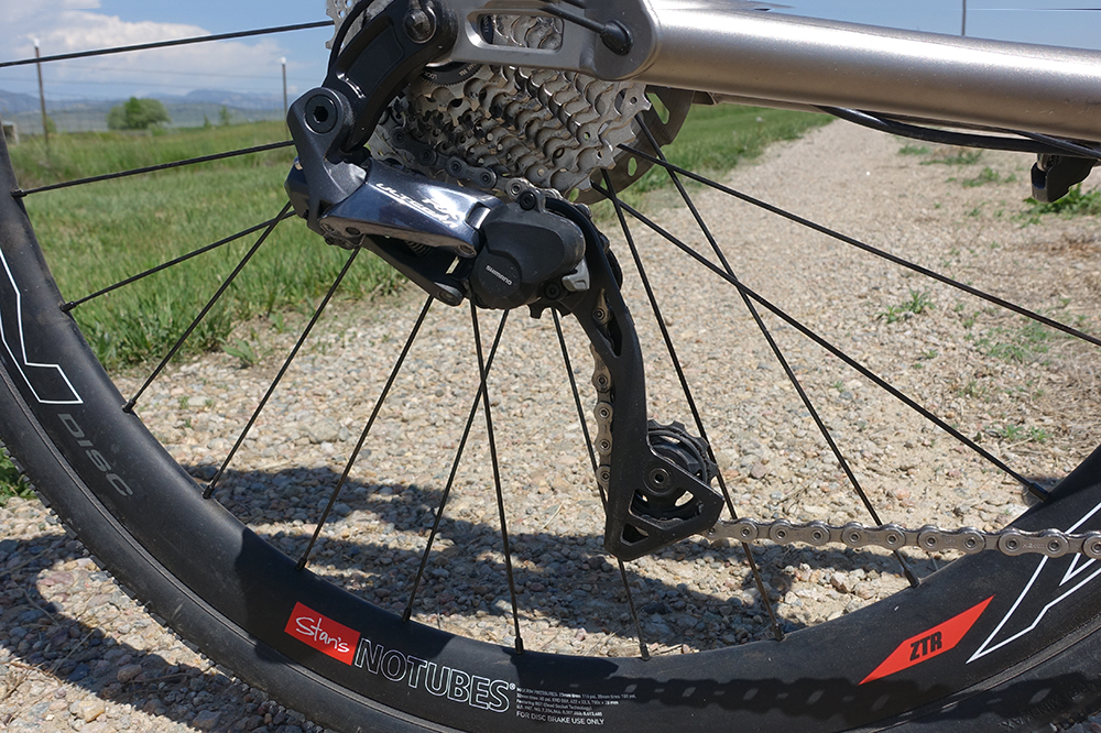 Shimano's new Ultegra RX rear derailleur features chain stabilizing technology that keeps the chain held taught over the bumpy Kanza roads. I can turn the clutch on and off with a little switch on the derailleur but I'll be running it on all day at DKXL to keep my chain from bouncing around.