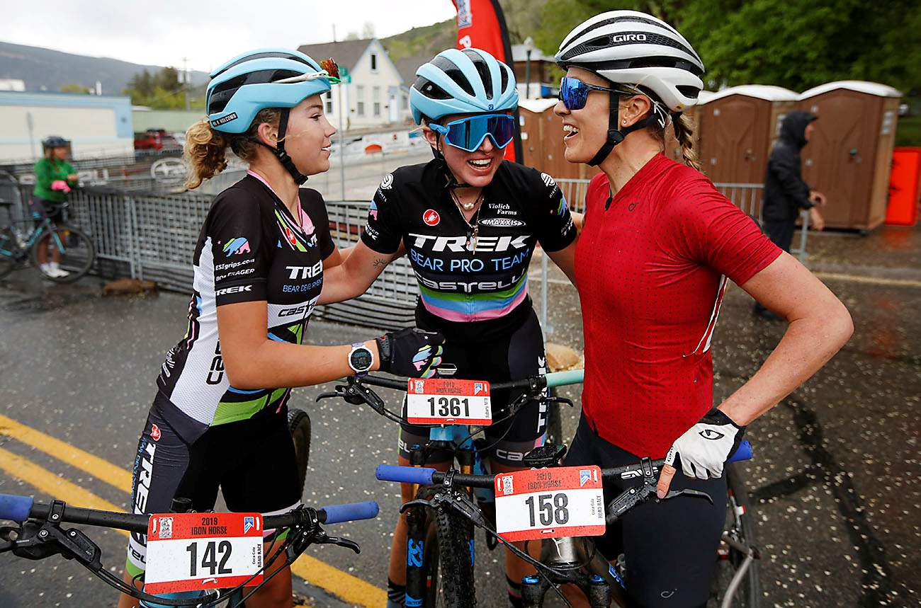 Ruth Holcomb, Katja Freeburn and Hannah Bingham filled the podium on Sunday for the mountain bike race.