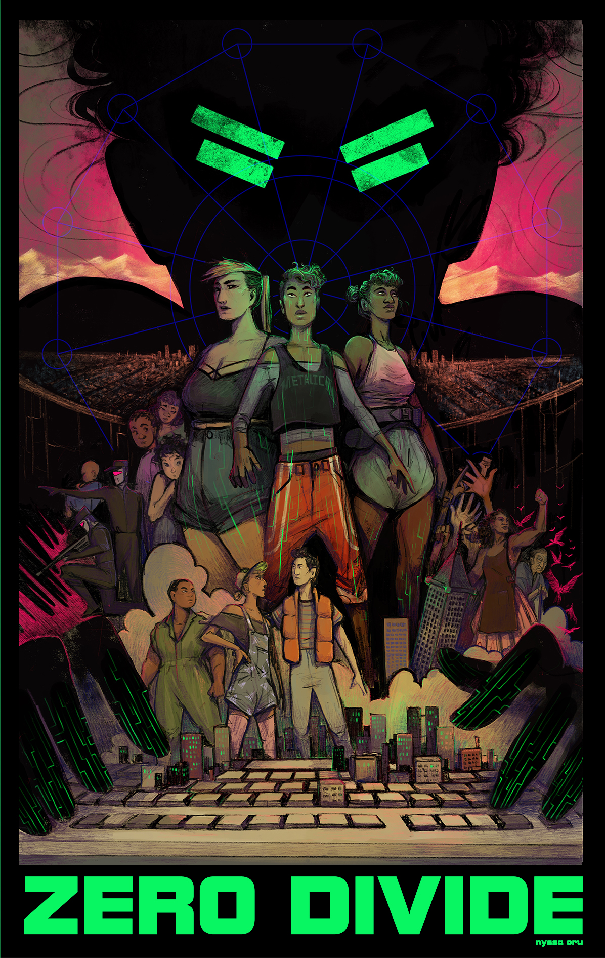 Three lesbian moms fight to protect their home in a retro-scifi adventure. A choose-Your-Own-Adventure graphic-Novel game in the work