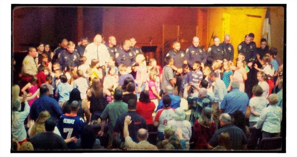Praying over Exeter Police Officers- Memorial Day of 2012
