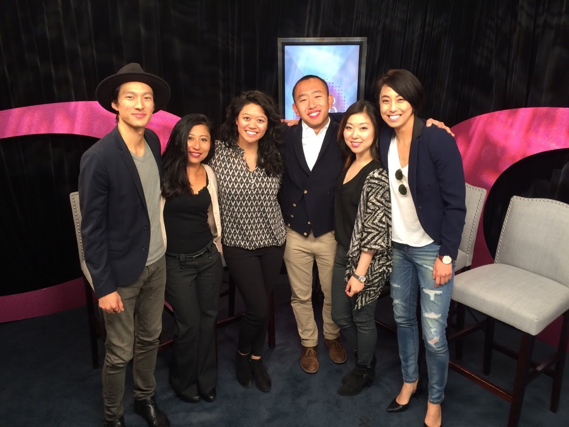 Pictured from left to right: Christopher Park (MSR lead actor), Kat Iniba (Halo Halo host), Mallorie Ortega (director), David Liu (producer), Diana Cha (composer/music supervisor), Mina Son (lead actress)