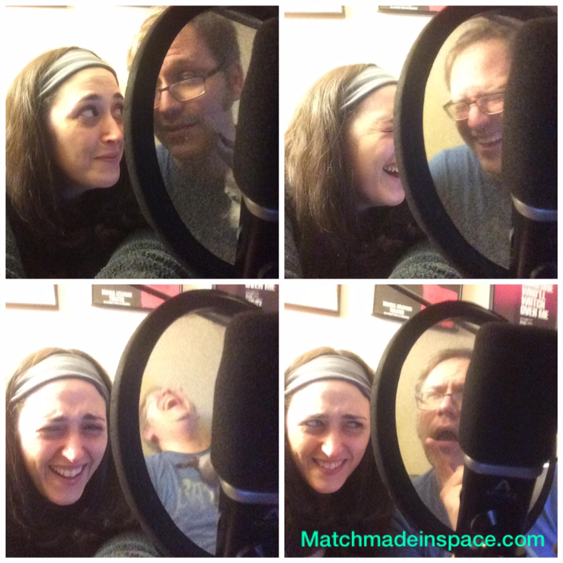 Our chemistry when we pretend to record a podcast while taking selfies is amazing.