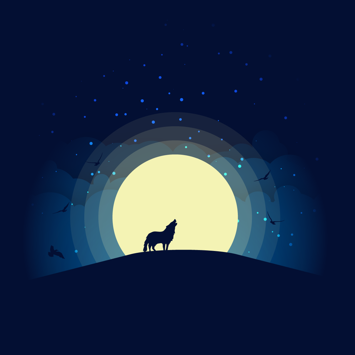 Wolf, Birds, and Stars over the Moon