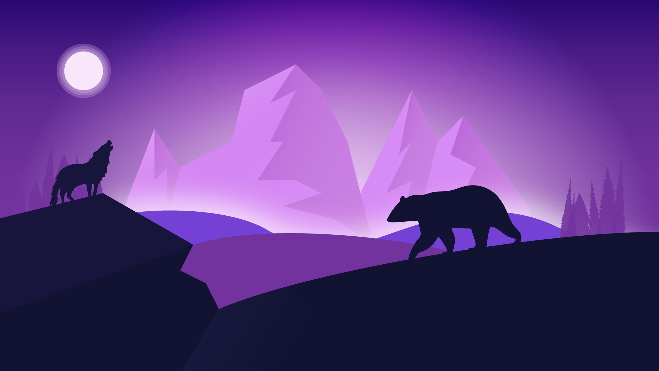 Polar Bear & Wolf Landscape