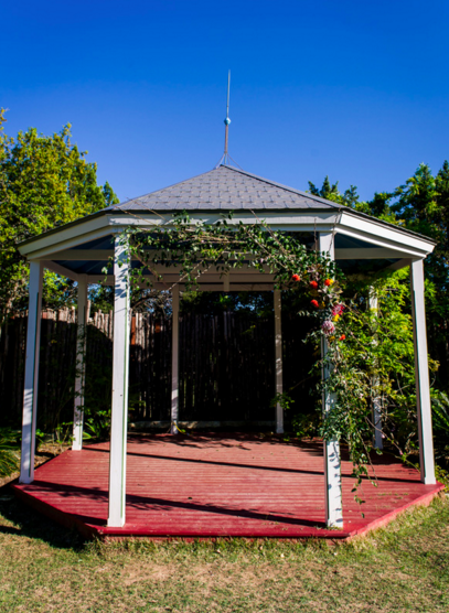 Gazebo swag made of cherry blossoms, Pussywillow, Protea, and succulents.