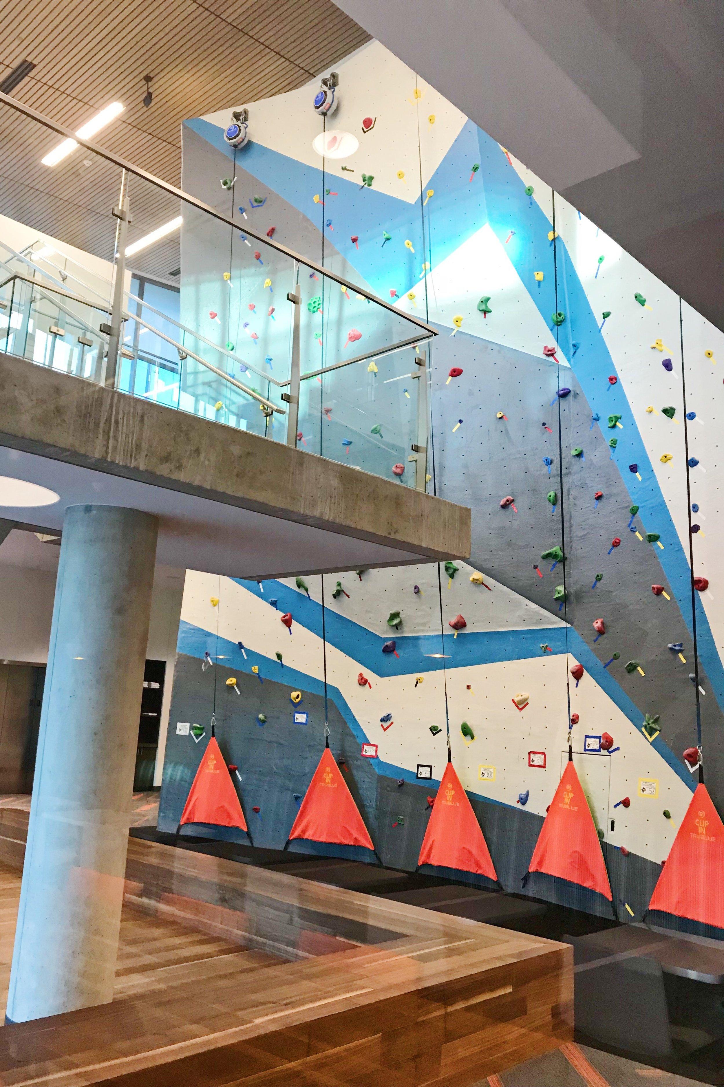 2-story climbing wall.