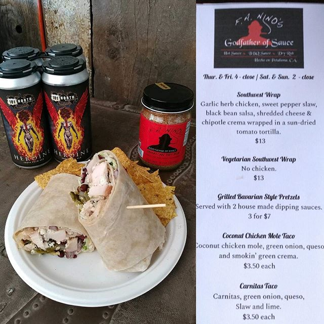 This week's bomb menu from @faninos_godfatherofsauce is perfect to cool you off along with our crush-worthy craft brews! Cold beers, cool vibes and awesome pub grub make for the perfect weekend vibes! 🍺🌯🍻🌮 #101NorthBrewing #WrapsForDays #FoodStartsAt2 #TacosAndBeer #CraftBrewsAndBites #VegatariansWelcome #BadAssPretzels #HeroineIPA #PetalumaWeekendVibes #Petaluma
