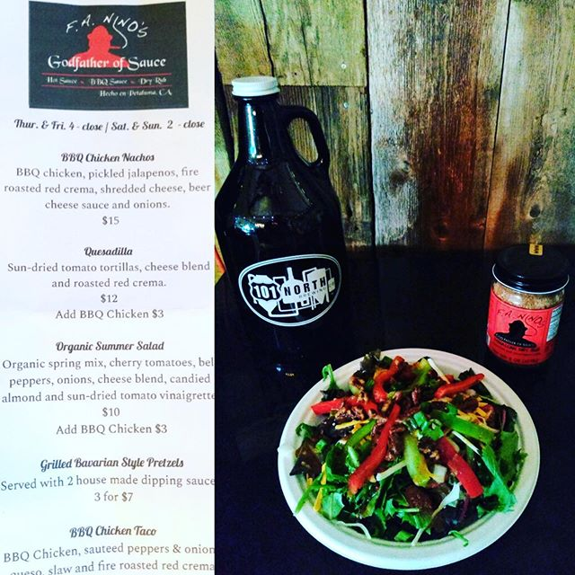 Fresh is the word! Check out this delish summer salad @faninos_godfatherofsauce is serving up this weekend! Paired with a cold pint of our DinoSOUR, and you'll be set!  #101NorthBrewing #ThePerfectSummerSour #ChardonnayBarrelAged #SaladsBestFriend #ItsFriYay #PopUpEats #DrinkLocal #PetalumaBrewery #SonomaCountyCraftBrews#Petaluma