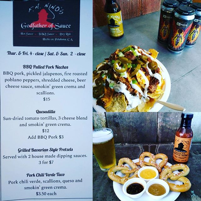 Sometimes all you need in life is a pint of your fave craft brew and some tasty morsels to go along with it! This weekend's menu from @faninos_godfatherofsauce does not disappoint! Get it! Now through Sunday! #101NorthBrewing #HeroineIPA #HopToIt #Dank #PretzelsAndDips #BBQPorkNachos #IllTakeOneOfEverything #BeerCheeseOnEverything #YasPlease #PetalumaTaproom #PopUpEats #SonomaCounty #DrinkLocal #EatLocal