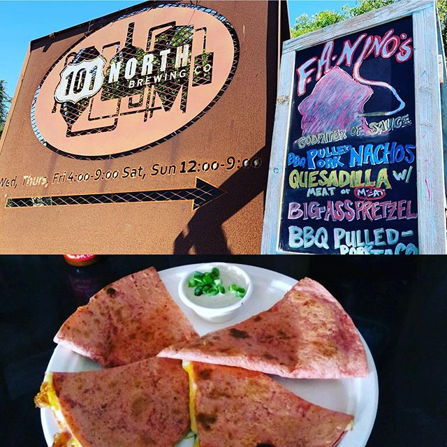 All signs are pointing to refreshing craft brews and super yummy bites courtesy of @faninos_godfatherofsauce! You don't want to miss this week's quesadilla made with a sundried tomato tortilla!! This is the perfect meal or snack to go with Pothole-uma Pilsner while it's back on tap! #101NorthBrewing #PotholeumaPilsner #SundriedTomatoQuesadilla #FollowTheSigns #WeGotYou #CraftBrewsAndBites #NorthernCaliforniaBrewery #Petaluma