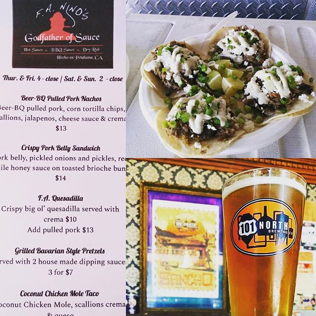 Coconut Chicken Mole Tacos by @faninos_godfatherofsauce love it when they are served with craft beers from yours truly! Join us for great grub to go with your favorite brews now through closing on Sunday!🍺🌮💘 #101NorthBrewing #CoconutMoleOnEverything #ItsAllAboutThatSauce #CantHaveJustOne #BeerOrTaco #MoleMoleMole #PopUpBrewsAndBites #SoGoodYouWontWantToShare #HoppinessLivesHere #HeroineIPA #PetalumaMade #DrinkLocal #EatLocal #SonomaCountyBrewery #Petaluma