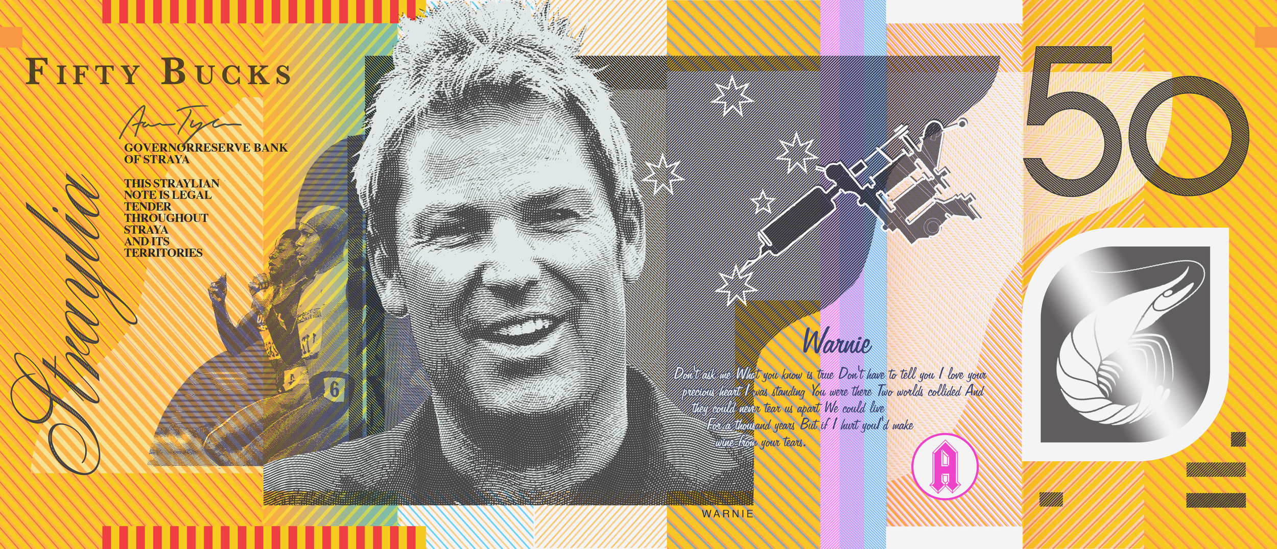 Shane Warne, Cathy Freeman, Southern Cross tattoo, and Shrimps on the Barbee.