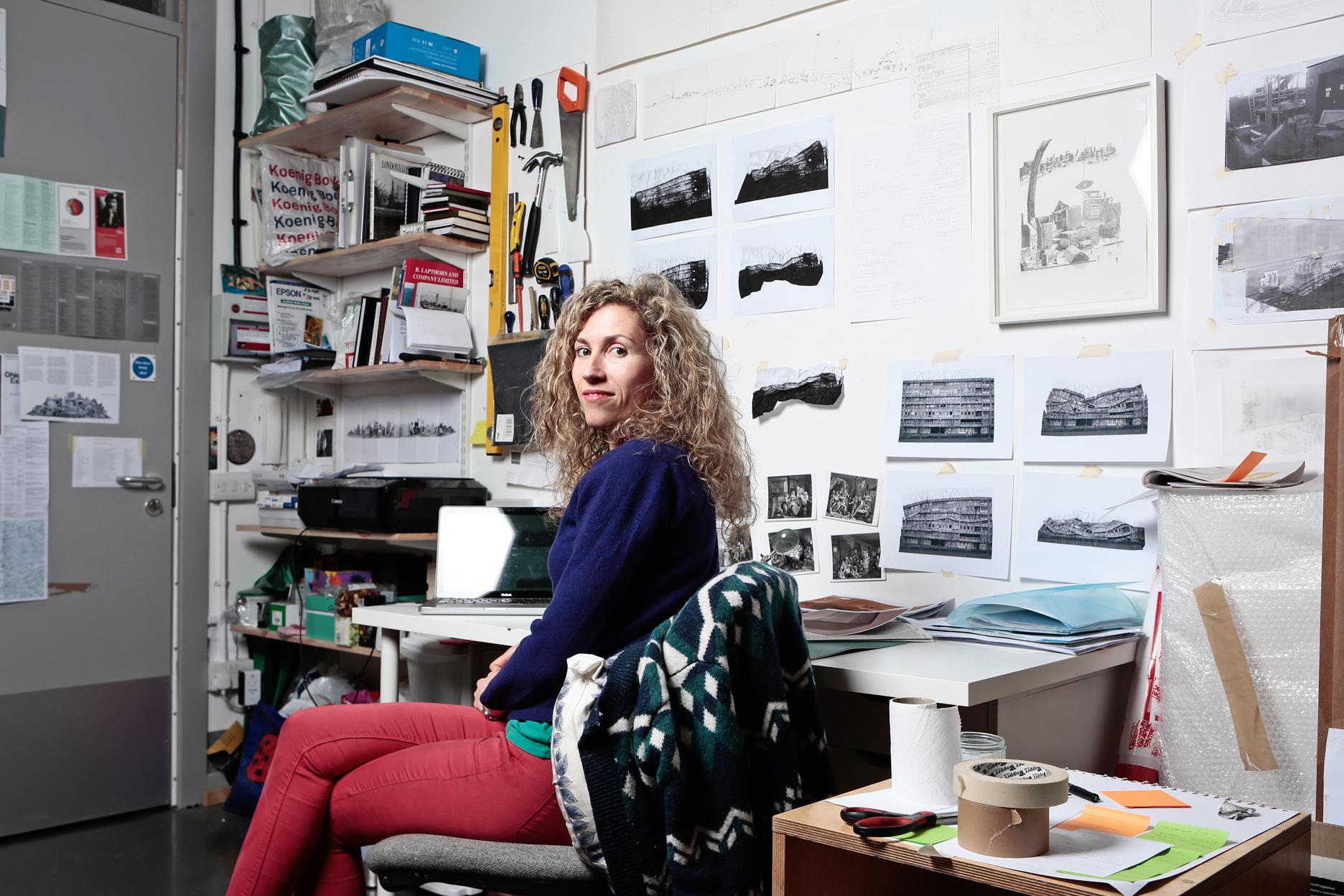 Jessie Brennan in herstudio, 2014, Image Credit: Patrick Marks assisted by Max Mudie