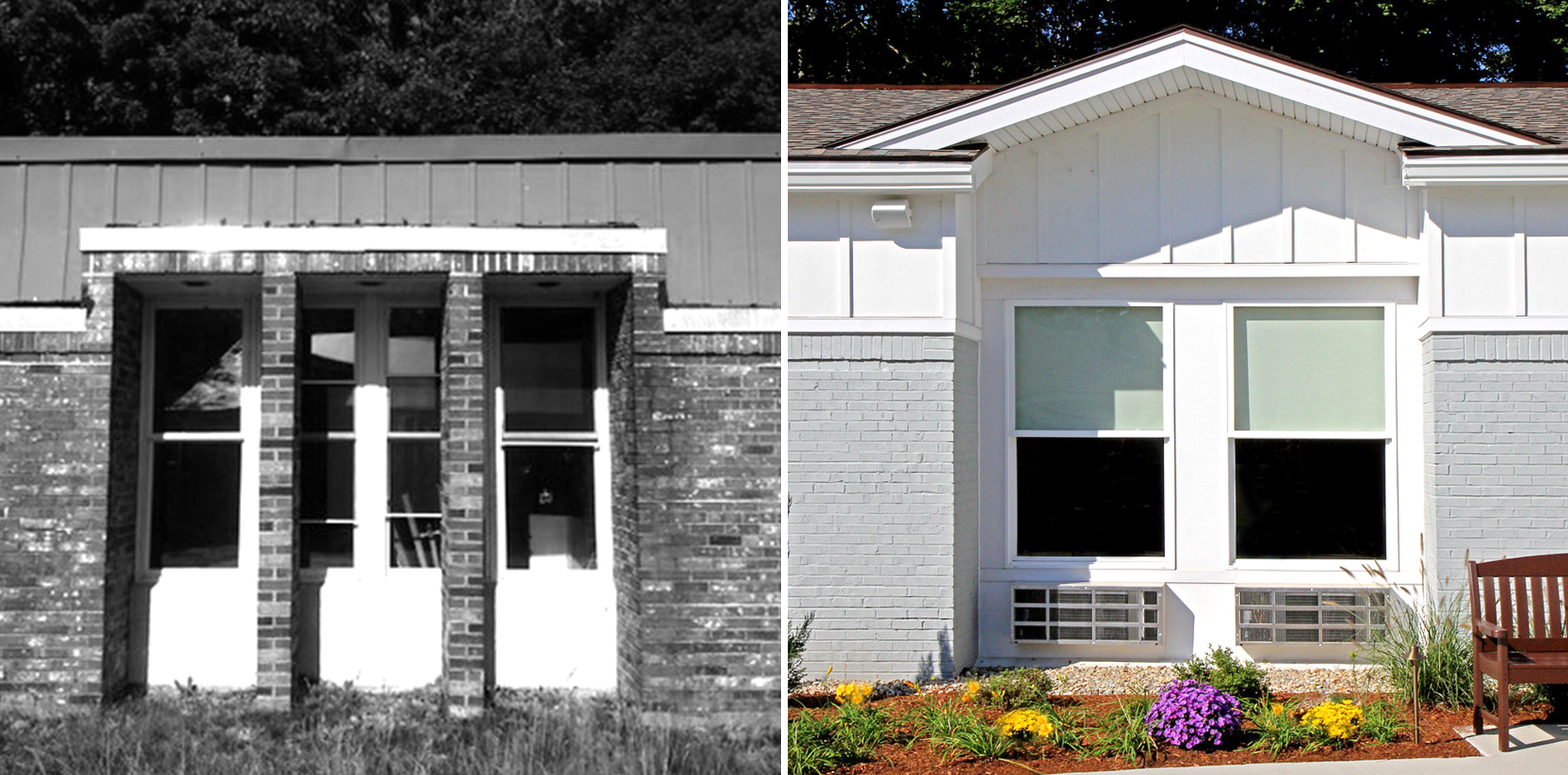 New windows, facade and roofing complete the exterior improvements.