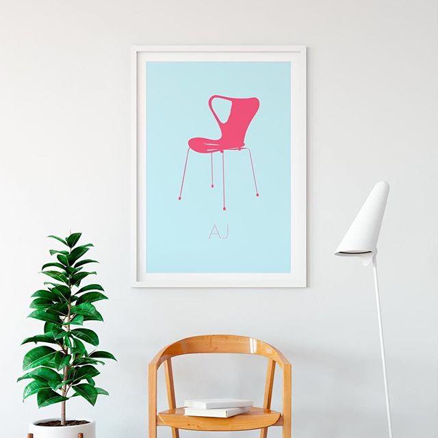 AJ aka Arne Jacobsen⠀ Buy at www.calla.dk⠀ #calla #art #danishdesign #posters #poster #nordic #design #creative #interior #living