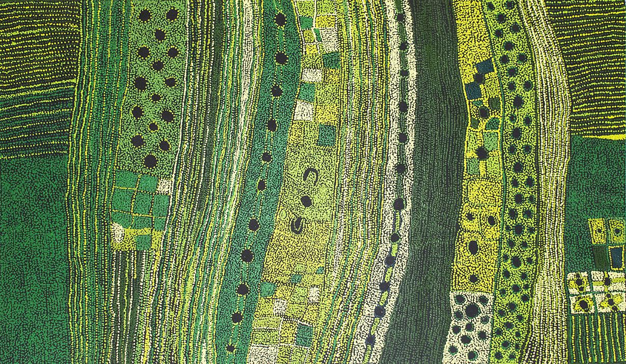 © Maringka Baker. Titre : Minyma Kutjara dreaming. 200 x 118 cm. Centre d'art de Tjungu Palya