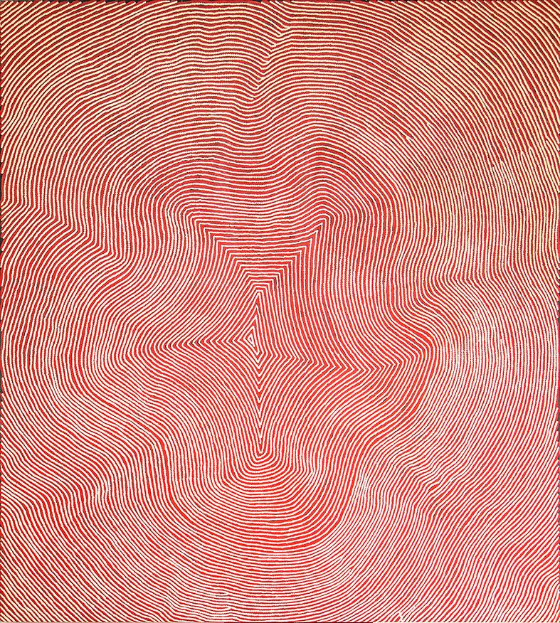 Sélection pour Knocke.  Œuvre magistrale de l'artiste Warlimpirrnga Tjapaljarri. Format : 137 x 122 cm. Provenance et certificat : © Papunya Tula Artists.