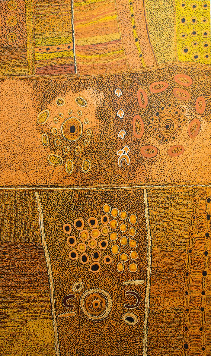Sélection pour Knocke.  Œuvre magistrale de l'artiste Maringka Baker. Titre de l'œuvre : Minyma Kutjara Tjukurpa. Format : 200 x 120cm. Provenance et certificat : © centre d'art de Tjungu Palya.