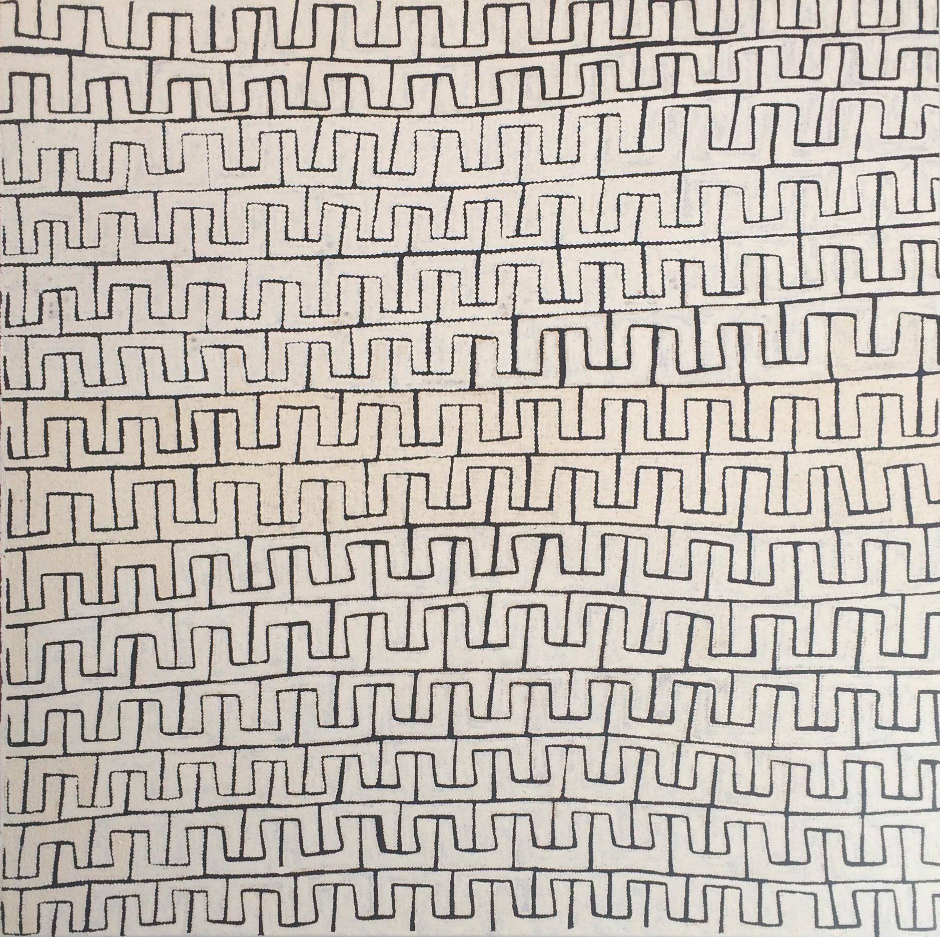 Sélection pour Knocke.  Ray James Jangala. Titre : Soakage water site of Yunala. 122 x 122 cm. Provenance : Papunya Tula Artists.
